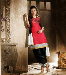 Buy red cotton printed style salwar with dupatta patiala-salwar online
