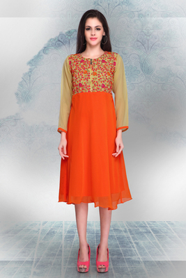 Beige and Orange Georgette Embroidered Tunic