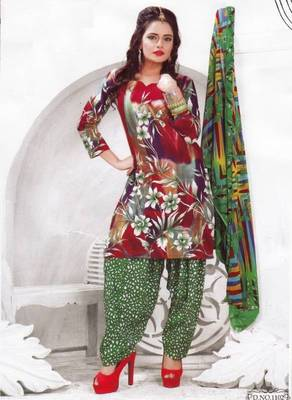 Cotton dress material unstitched salwar suit with chiffon dupatta d.no pk1102