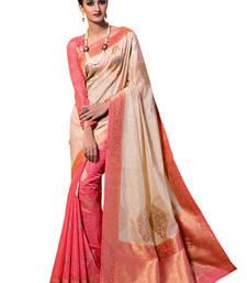 Buy Beige and Pink Woven Kanchipuram Spun Silk Saree With Unstitched Blouse kanchipuram-silk-saree online