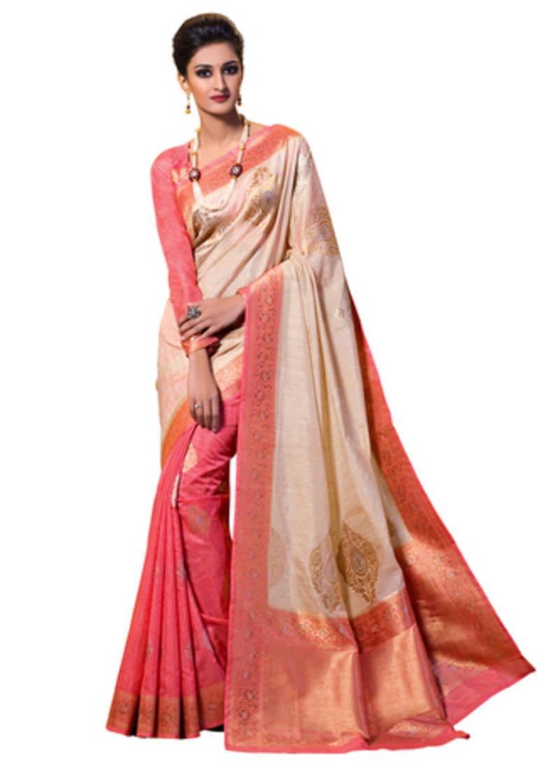 bb8d46a3c0 Beige and pink woven kanchipuram spun silk saree with unstitched blouse