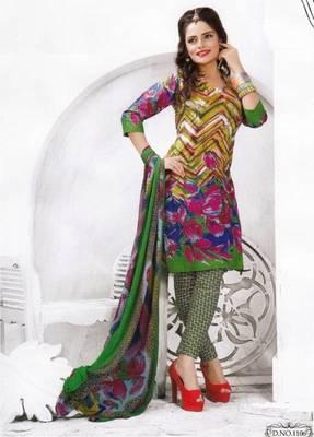 Cotton dress material unstitched salwar suit with chiffon dupatta d.no pk1106