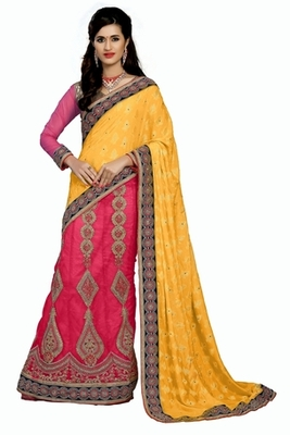 Yellow Embroidered  saree with blouse