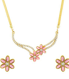 Buy Cats Eye Pink Floral Gold Plated Necklace Set for Women necklace-set online