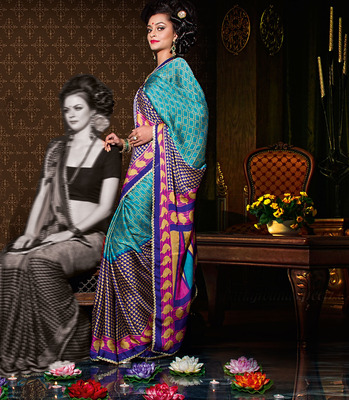 Party Wear Designer Printed Saree Dyna779c