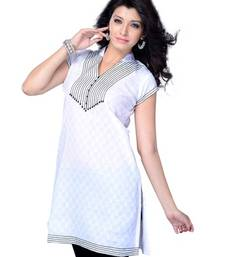 Buy White Printed Jacquard Cape Sleeve Kurti tunic online