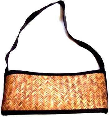 Ladies Cane Woven Leather Black Strap handbag