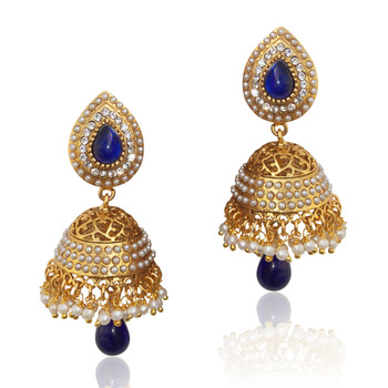 Ethnic pearl jhumka earrings with blue stones v801