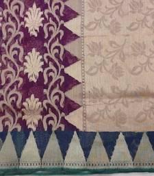 Buy Dark Purple Woven Cotton Jute  with Blouse hand-woven-saree online