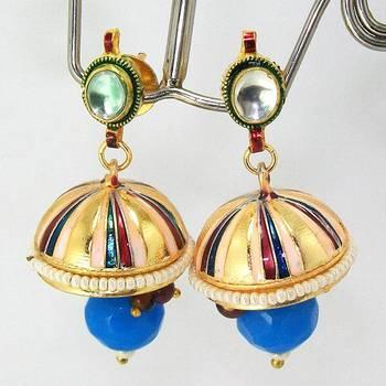 Meenakari Kundan Drop Tokri Earring Peach Stripes