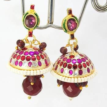 Meenakari Kundan Drop Tokri Earring Pink Maroon Dots