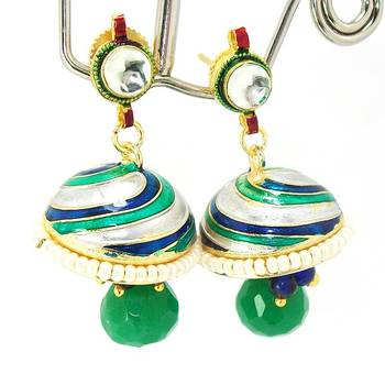 Meenakari Kundan Drop Tokri Earring Green Grey Spiral