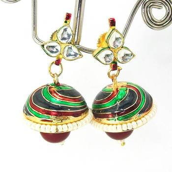 Meenakari Kundan Drop Tokri Earring Maroon Green Spiral