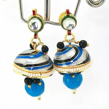 Meenakari Kundan Drop Tokri Earring Blue Black Spiral