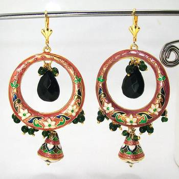 Meenakari Baali Danglers Antique Peach Black
