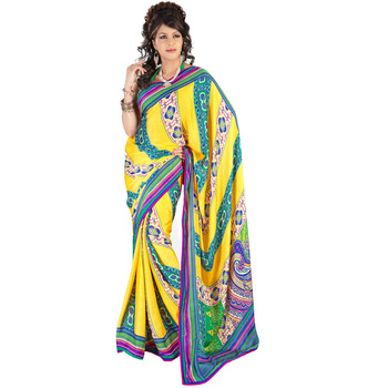 TopDeals Party Wear Yellow Colored Georgette Saree With Unstitched Blouse