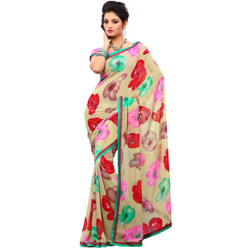 TopDeals Party Wear Sandal Colored Chiffon Saree With Unstitched Blouse