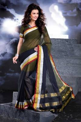 ISHIN Cotton Green-blue Sarees Ayanna