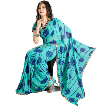 TopDeals Causal Wear Sky Blue Colored Faux Georgette Saree With Unstitched Blouse