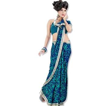 TopDeals Blue Colored faux georgette saree with unstitched blouse