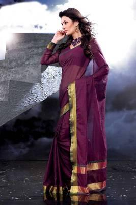 ISHIN Cotton Dark Pink Sarees Kainaaz
