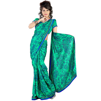 TopDeals Party Wear Green Colored Georgette Saree With Unstitched Blouse