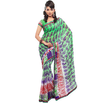 TopDeals Green Colored faux georgette saree with unstitched blouse