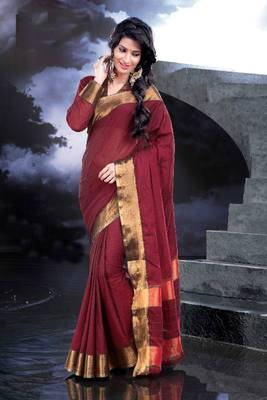 ISHIN Cotton Red Sarees Monica