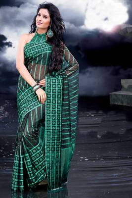 ISHIN Cotton Green Sarees Raanjhana