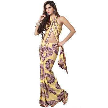 TopDeals Party Wear Yellow & Violet Colored Faux Georgette Saree With Unstitched Blouse