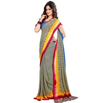TopDeals Casual Wear Orange & Olive Colored Bhagalpuri Silk Dress Material