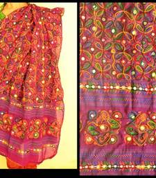 Buy Purple Multicolour Kutch Aari work Embroidery with mirror work fully done over Dupatta stole-and-dupatta online