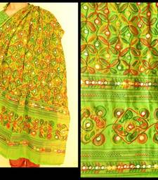 Green Multicolour Kutch Aari work Embroidery with mirror work fully done over Dupatta