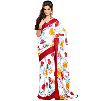 TopDeals Casual Wear White & Red Colored Georgette With Sattin Patti Saree With Unstitched Blouse