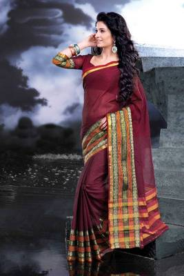 ISHIN Cotton Red Sarees Zoya