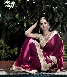 Buy The Dark Beauty Crochet Party Wear Saree | Purple georgette-saree online