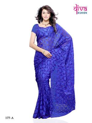 Glorious Party/Office wear Designer Saree made from Brasso and Net (dual fabric used) by Diva Fashion, Surat