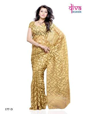 Wow feeling Fancy Designer saree made from Brasso and Net from Diva Fashion, Surat