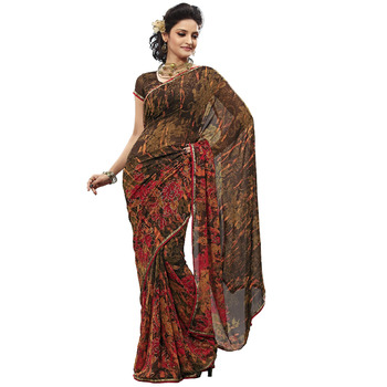 TopDeals Party Wear Brown Colored Georgette Saree With Unstitched Blouse