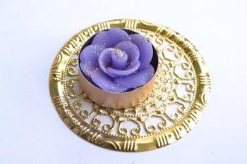 Water Floating Floral Ornate Metallic Centre Wax interchangable and Refill Diwali Diya