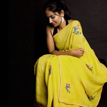 Mellow Yellow Embroidery Party Wear Saree | Yellow