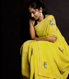 Mellow Yellow Embroidery Party Wear Saree | Yellow shop online