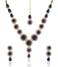 Buy Ethnic Indian Jewelry Bollywood Blue Circle Stone Diamentes Necklace Set b152 necklace-set online