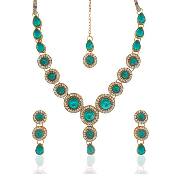 Indian Jewelry Bollywood Turquoise Circle Stone Diamentes Necklace Set b152T