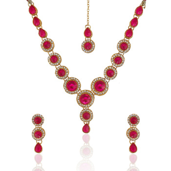 Indian Jewelry Bollywood Dark Pink Rani Circle Stone Diamentes Necklace Set B152R