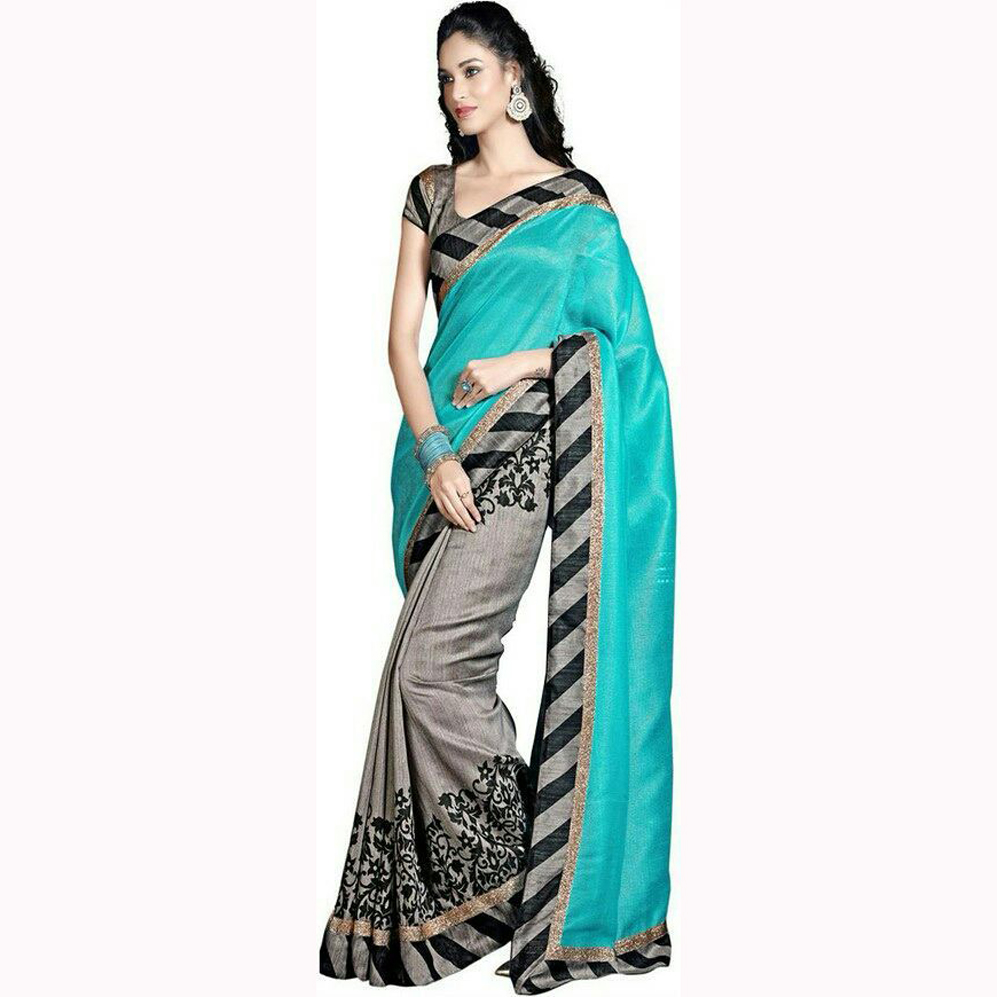 a0d8ba7f9c Sky Blue and Black and Gray Printed Sarees Bhagalpuri Silk saree with  blouse - USTAAD - 681045