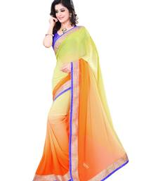 Buy Orange  and  Yellow embroidered Georgette saree with blouse art-silk-saree online