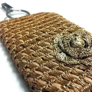 Smart Phone Crochet Covers | Golden Zari | Light Golden Zari Flower