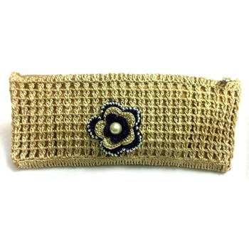 Crochet Clutch with Motif in Beige