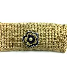 Buy Crochet Clutch with Motif in Beige gifts-for-her online